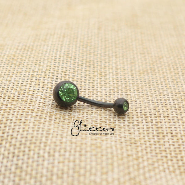 Black Titanium I.P Surgical Steel Double Gem Belly Button Ring - Green-Glitters