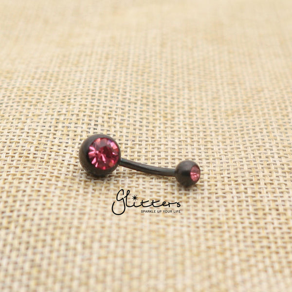 Black Titanium I.P Surgical Steel Double Gem Belly Button Ring - Pink-Glitters