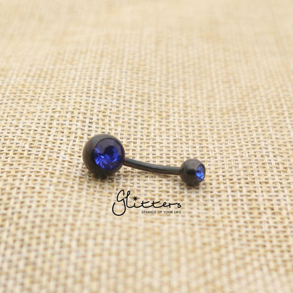 Black Titanium I.P Surgical Steel Double Gem Belly Button Ring - Blue-Glitters-New Zealand
