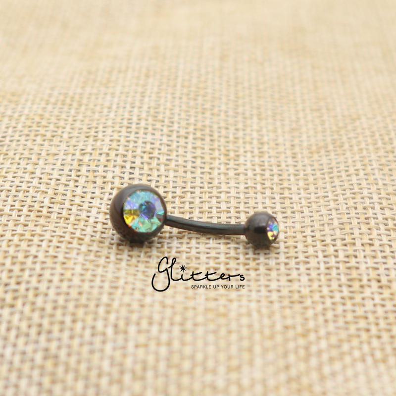 Black Titanium I.P Surgical Steel Double Gem Belly Button Ring - AB-Glitters-New Zealand