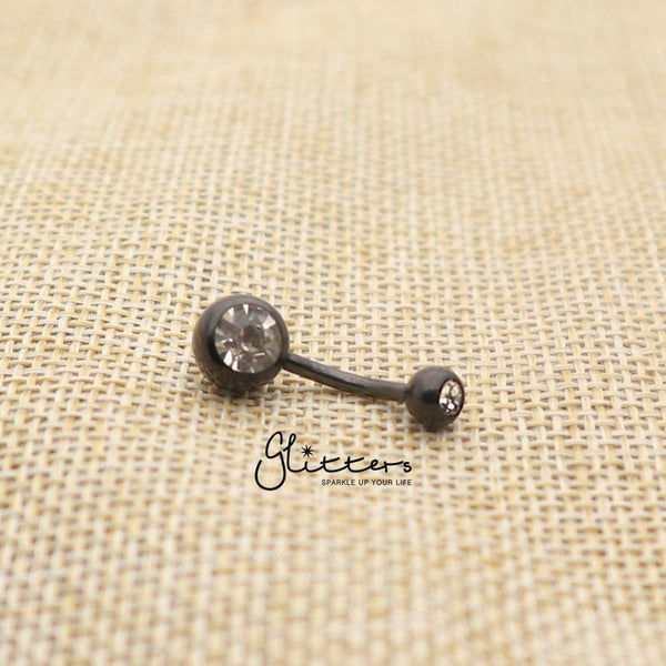 Black Titanium I.P Surgical Steel Double Gem Belly Button Ring - Clear-Glitters-New Zealand