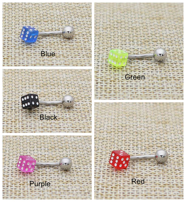 14 Gauge Acrylic Dice Belly Button Rings-Glitters-New Zealand