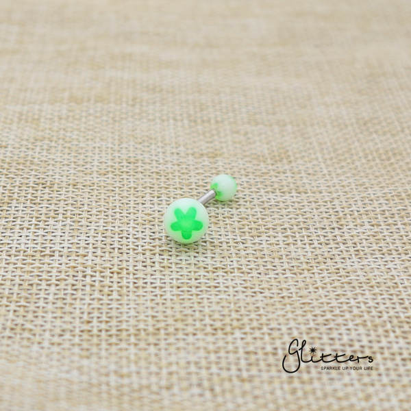 14 Gauge Acrylic Flower Balls Belly Button Ring - Green-Glitters-New Zealand