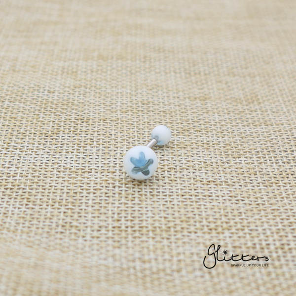 14 Gauge Acrylic Flower Balls Belly Button Ring - Light Blue-Glitters-New Zealand