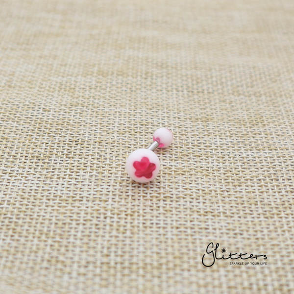 14 Gauge Acrylic Flower Balls Belly Button Ring - Hot Pink-Glitters-New Zealand