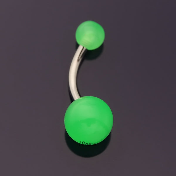 Glow In The Dark Balls Belly Button Ring - Dark Green-Belly Rings-Glitters