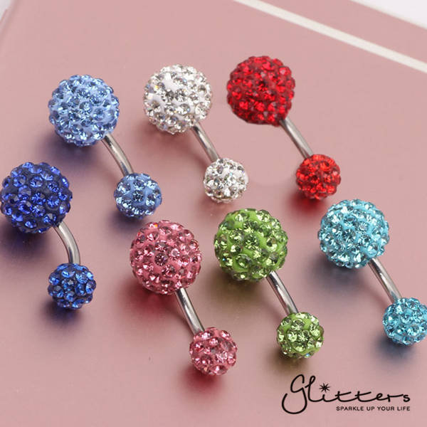 Crystal Cluster Ferido Double Disco Ball Navel Belly Button Ring-Clear-Glitters-New Zealand