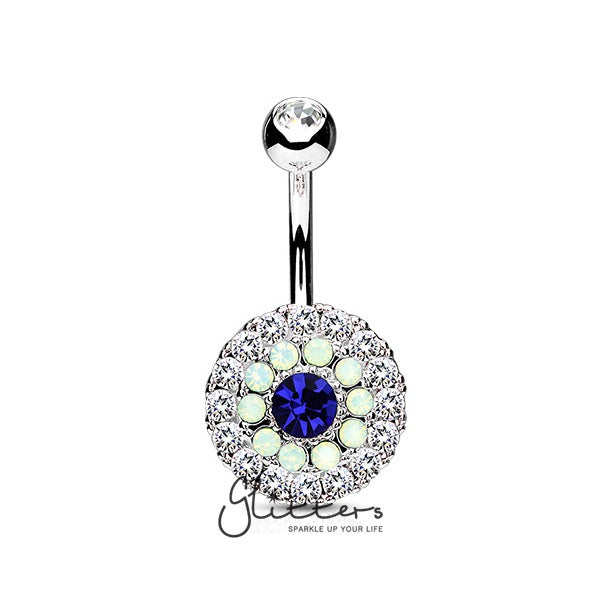 Multi Circle Triple Tiered Crystal and Blue Opalite Surgical Steel Navel Ring-Glitters