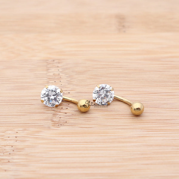 316L Surgical Steel Prong Set Cubic Zirconia Belly Button Ring-Gold-Glitters