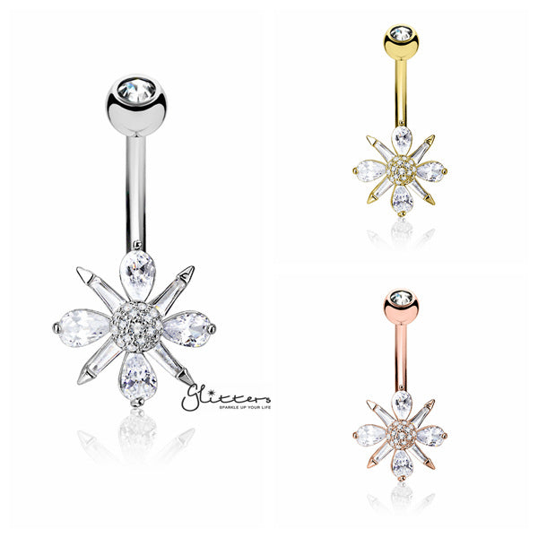 Barguette CZ and Pear CZ Clustered and CZ paved Ball Center Belly Button Navel Rings-Glitters-New Zealand