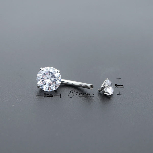 316L Surgical Steel Internally Threaded Prong Set Cubic Zirconia Belly Button Rings-Glitters-New Zealand