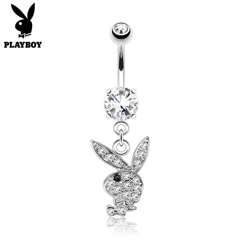 Clear Crystal Paved Playboy Bunny Dangle Belly Button Navel Ring - Silver-Belly Rings-Glitters