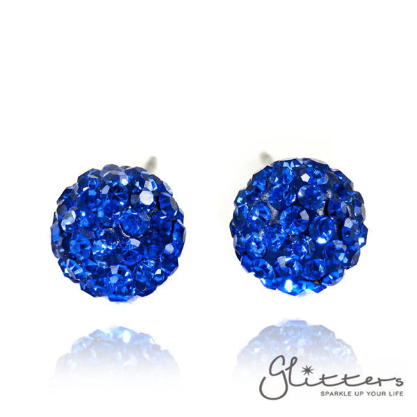 Blue Colour Crystal Ferido Disco Ball Stud Earring-Glitters-New Zealand