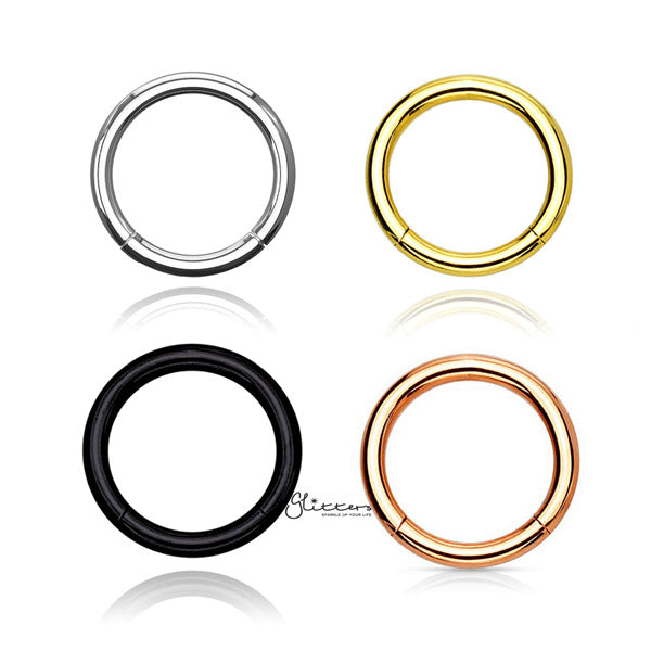 18 Gauge Hinged Stainless Steel Segment Hoop Rings-Silver | Gold | Black | Rose Gold-Glitters-New Zealand