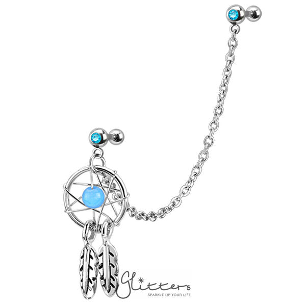 316L Surgical Steel Chain Linked Dangle Dream Catcher with Double Gemmed Tragus/Ear Cuffs-Glitters-New Zealand