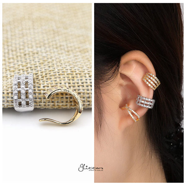 Three Lines C.Z Ear Cuffs - Non Piercing Ear Cuffs - Glitters-New Zealand