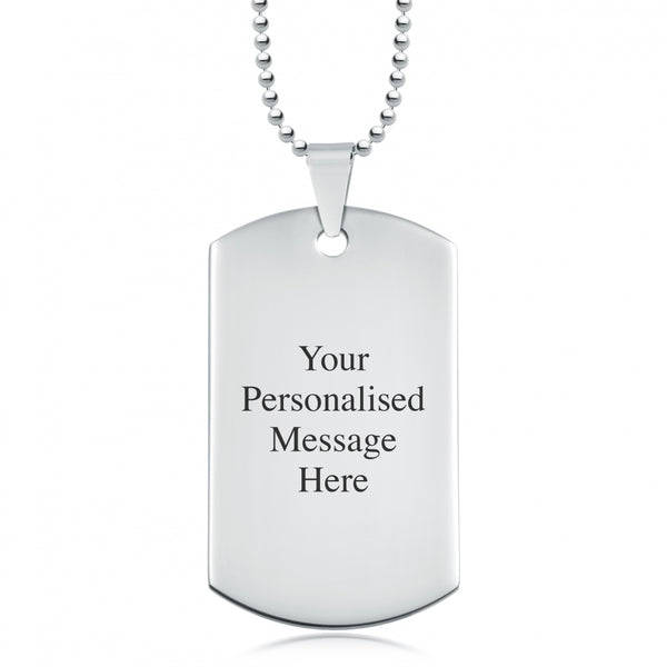 Personalized Stainless Steel Necklace Dog Tag Pendant + Engraving Custom Message-Glitters-New Zealand