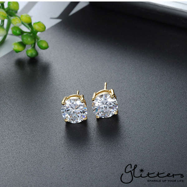 18k Gold Plated Clear Round C.Z Studs Earring with Stainless Steel Post-3mm | 4mm | 5mm | 6mm | 7mm | 8mm-Glitters