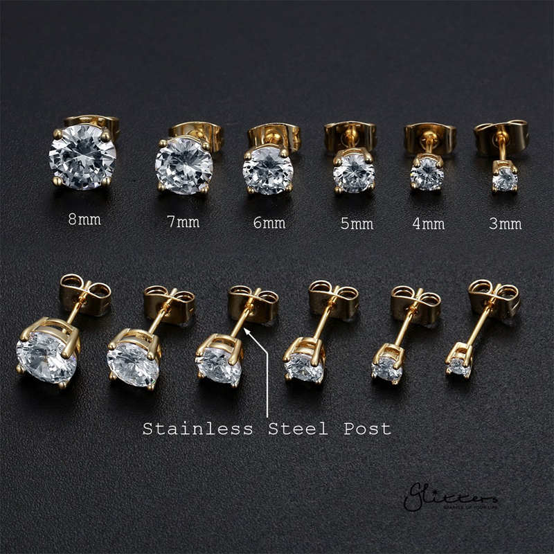 18k Gold Plated Clear Round C.Z Studs Earrings with Stainless Steel Posts-Glitters-New Zealand