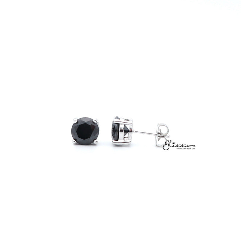 Rhodium Plated Black Round Cubic Zirconia Studs Earring-3mm | 4mm | 5mm | 6mm | 7mm | 8mm