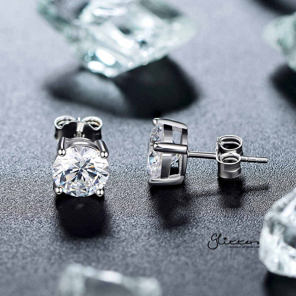 Rhodium Plated Round C.Z Studs Earrings with Stainless Steel Post-3mm | 4mm | 5mm | 6mm | 7mm | 8mm