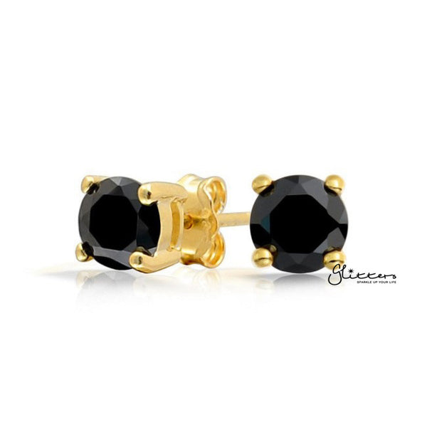 18k Gold Plated Black Round Cubic Zirconia Studs Earring-3mm | 4mm | 5mm | 6mm | 7mm | 8mm-Glitters-New Zealand