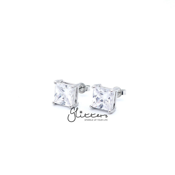 Rhodium Plated Clear Square C.Z Studs Earrings with Stainless Steel Post-3mm | 4mm | 5mm | 6mm | 7mm | 8mm