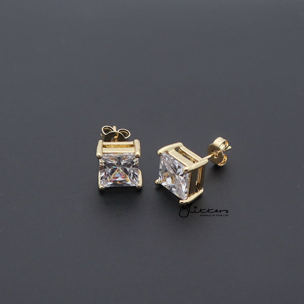 18k Gold Plated Clear Square C.Z Studs Earrings-with Stainless Steel Post-3mm | 4mm | 5mm | 6mm | 7mm | 8mm-Glitters-New Zealand