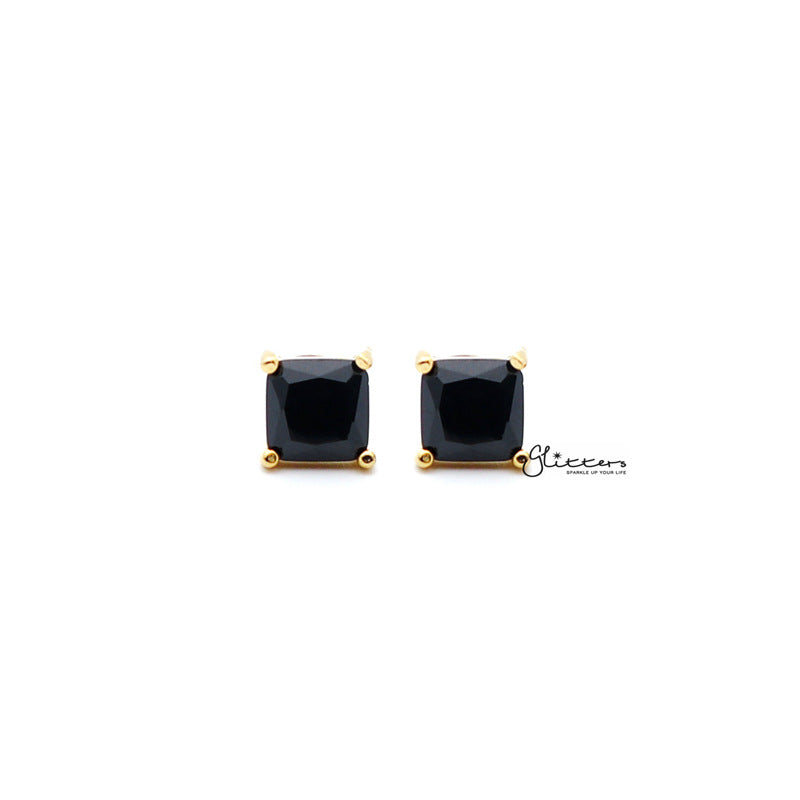 18k Gold Plated Black Square Zirconia Studs Earrings-Glitters-New Zealand