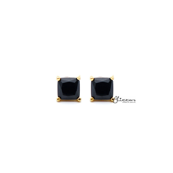 18k Gold Plated Black Square Zirconia Studs Earrings-3mm | 4mm | 5mm | 6mm | 7mm | 8mm-Glitters-New Zealand