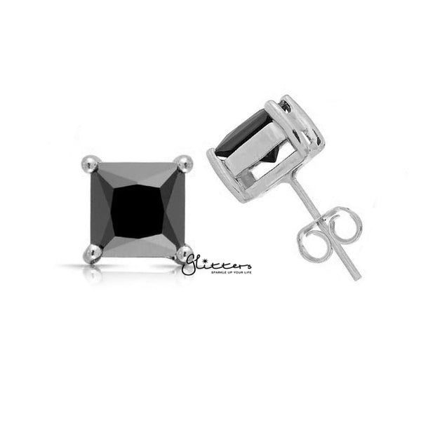 Rhodium Plated Black Square Zirconia Studs Earring-3mm | 4mm | 5mm | 6mm | 7mm | 8mm