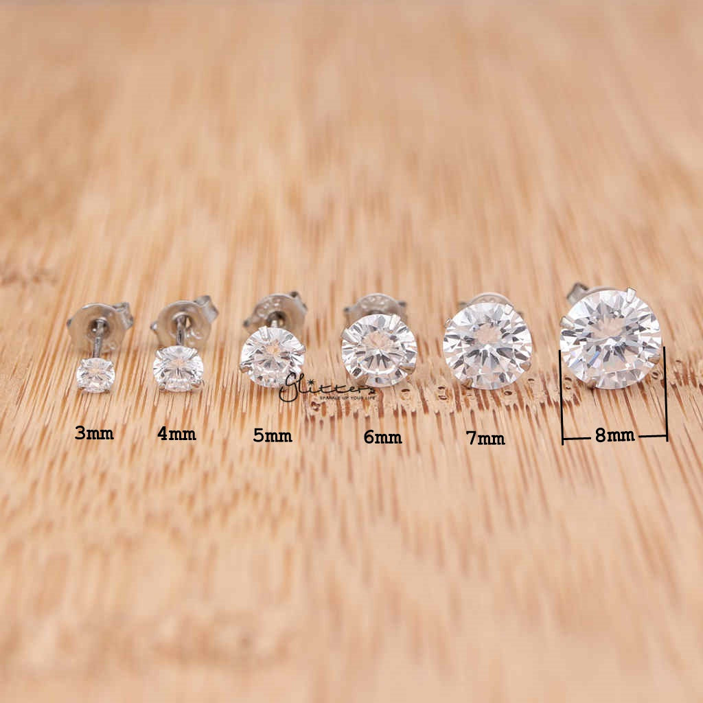 925 Sterling Silver Martini Stud Earring with Round Cubic Zirconia-3mm | 4mm | 5mm | 6mm | 7mm | 8mm-Glitters-New Zealand
