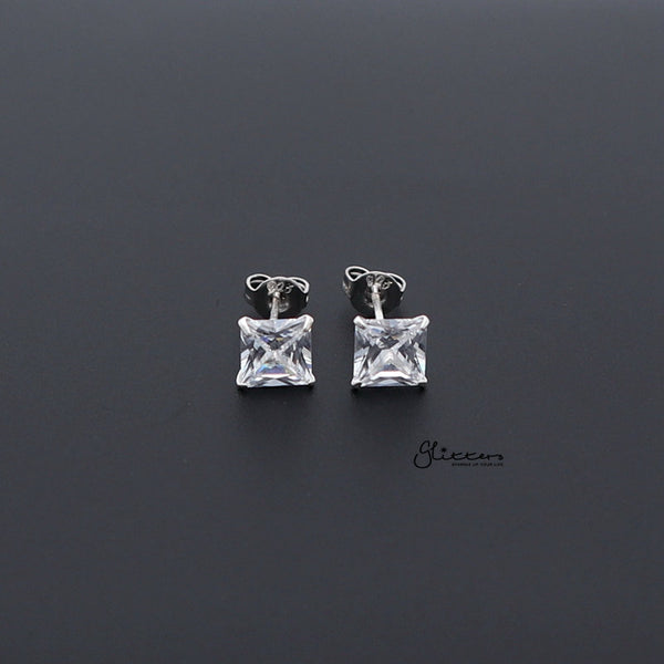 925 Sterling Silver Martini Stud Earring with Square Cubic Zirconia-3mm | 4mm | 5mm | 6mm-Glitters-New Zealand