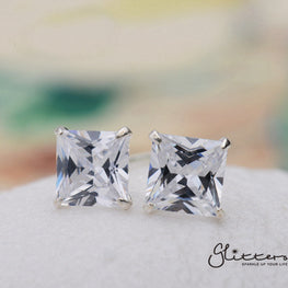 .925 Sterling Silver Martini Stud Earring with Square Cubic Zirconia