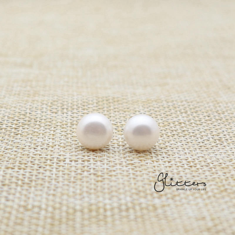 White Cultured Freshwater Pearl with Sterling Silver Post Women's Stud Earrings-6mm | 7mm | 8mm | 9mm
