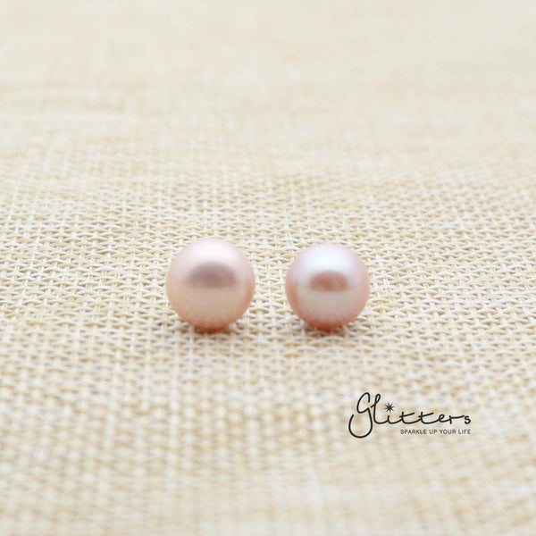 Light Purple Cultured Freshwater Pearl with Sterling Silver Post Women's Stud Earrings-6mm | 7mm | 8mm | 9mm-Glitters