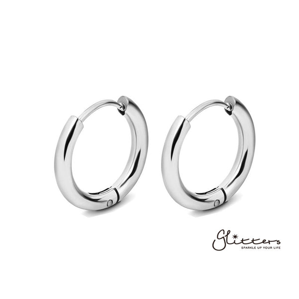 Stainless Steel Round Huggie Hoop Earrings