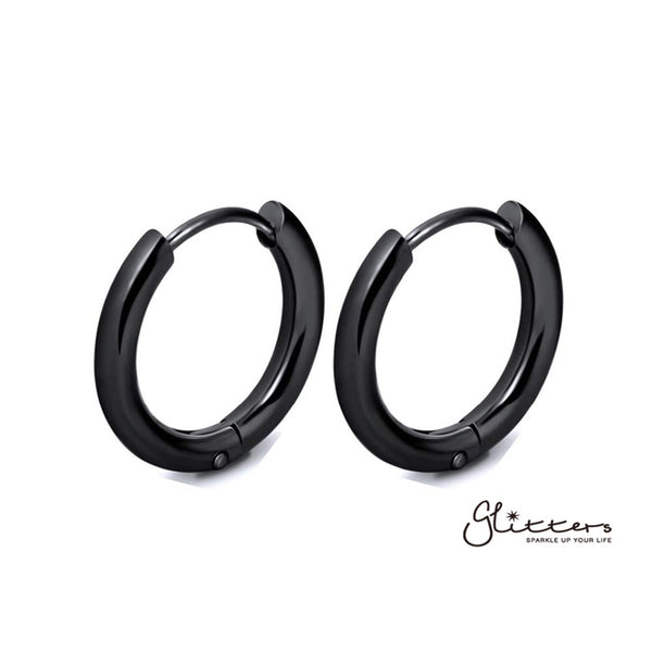 Black Titanium I.P Stainless Steel Round Huggie Hoop Earrings-Glitters-New Zealand