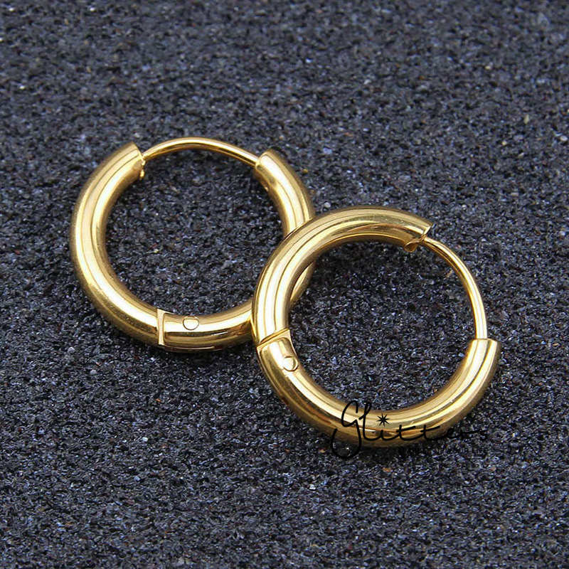 18K Gold I.P Stainless Steel Round Huggie Hoop Earrings-Glitters-New Zealand