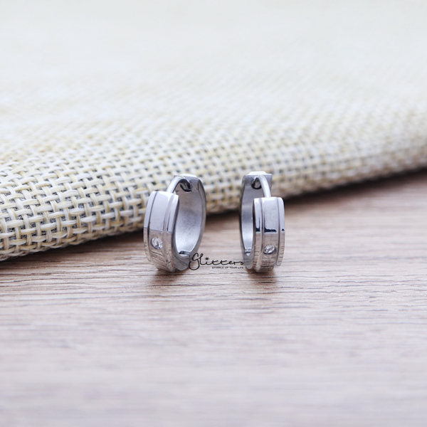 Stainless Steel Hinged Hoop Earrings with 1 Clear CZ-Glitters-New Zealand