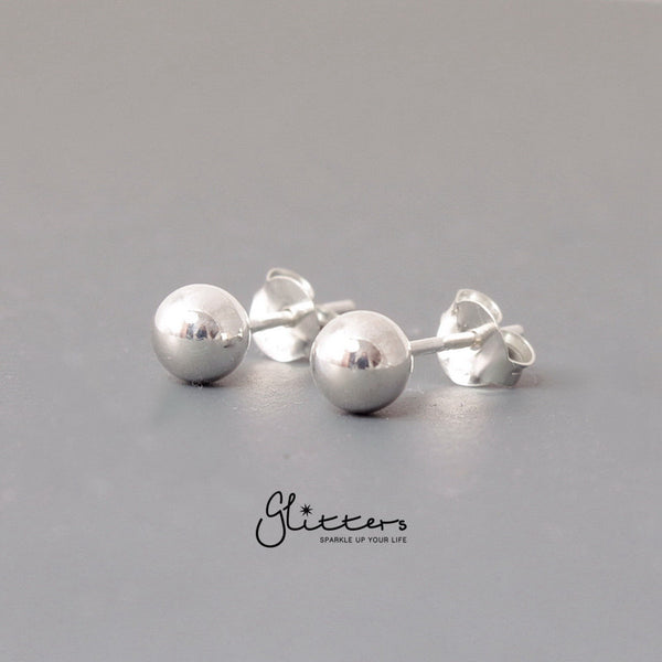 925 Sterling Silver Plain Ball Stud Earrings-3mm | 4mm | 5mm-Glitters-New Zealand