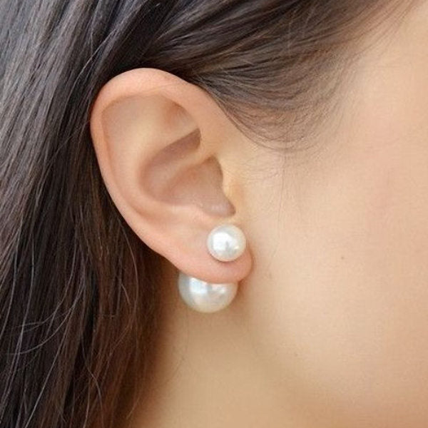 Double Sided White Round Shell Pearl with Sterling Silver Stud Earrings-Glitters-New Zealand
