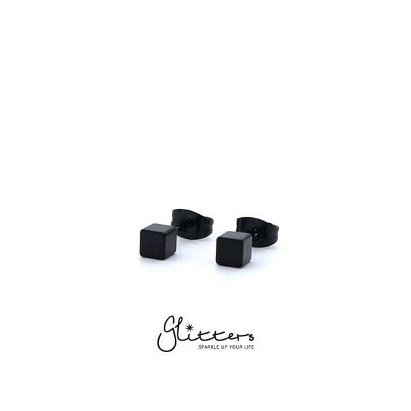 Black Titanium IP Stainless Steel Cube Stud Earrings-3mm | 4mm-Glitters-New Zealand