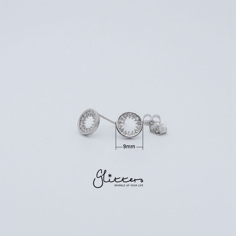 Circle Hollow Micro Cubic Zirconia Stud Earring with Sterling Silver Post-Glitters-New Zealand