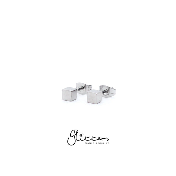 Stainless Steel Cube Stud Earrings-3mm | 4mm