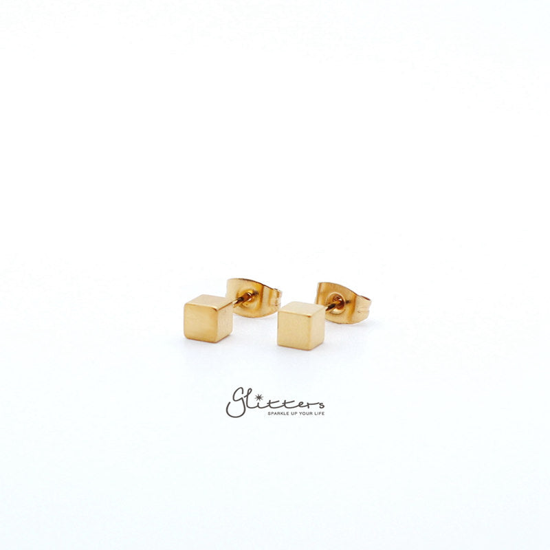 18K Gold IP Stainless Steel Cube Stud Earrings-3mm | 4mm-Glitters-New Zealand