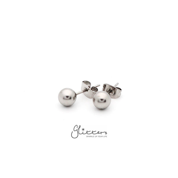 Stainless Steel Round Ball Stud Earrings-3mm | 4mm | 5mm | 6mm