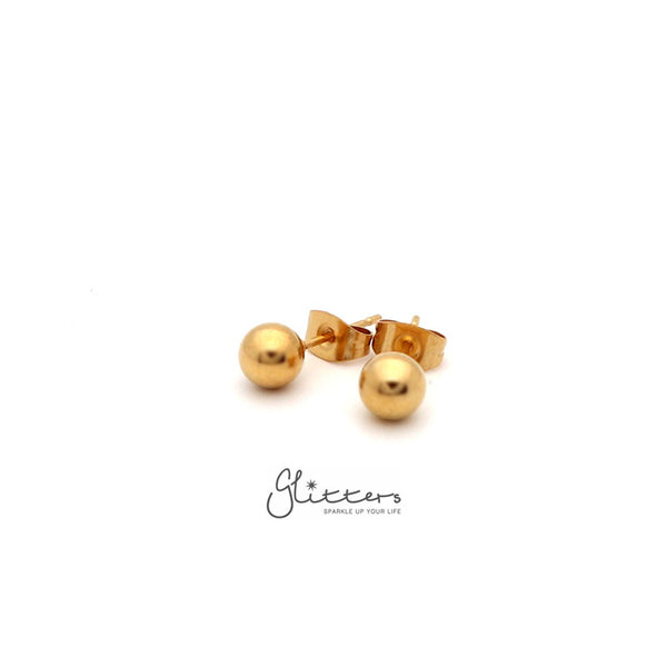 18K Gold I.P Stainless Steel Round Ball Stud Earrings-3mm | 4mm | 5mm | 6mm-Glitters-New Zealand