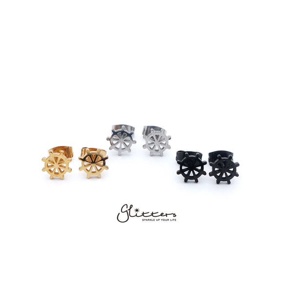 Stainless Steel Rudder Stud Earrings-Silver | Gold | Black
