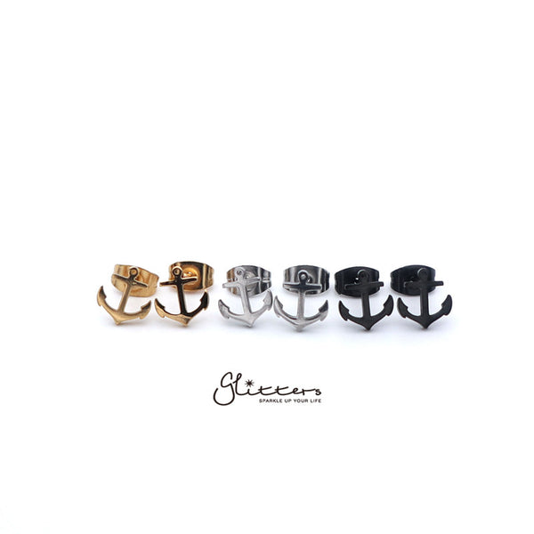 Stainless Steel Anchor Stud Earrings-Silver | Gold | Black